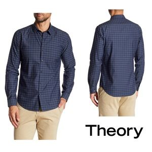 Theory Zack Long Sleeve Regular Fit Woven Shirt L